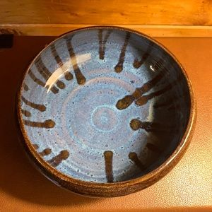 Hand thrown blue and brown drip glaze pottery bowl